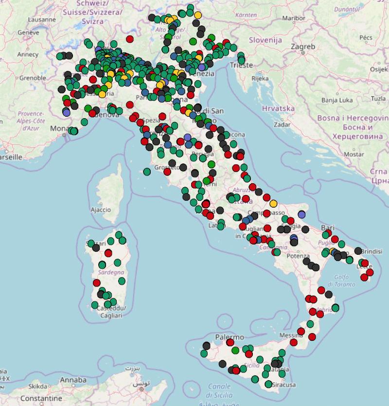 mappa impianti trattamento rifiuti in italia